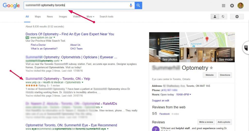 google-search-results-illustrating-yelp-prominence-optometry