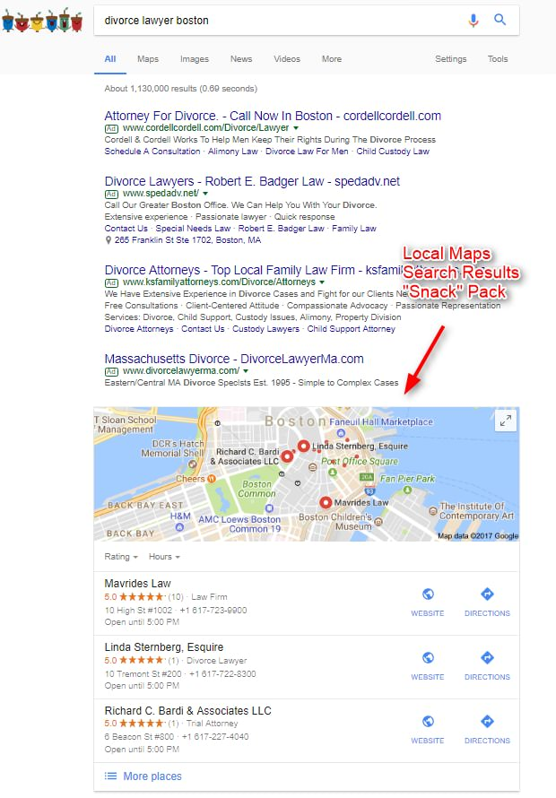 Reviews and Google Local Snack Pack
